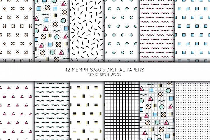 Memphis, 80s Digital Paper, Scrapbook Paper