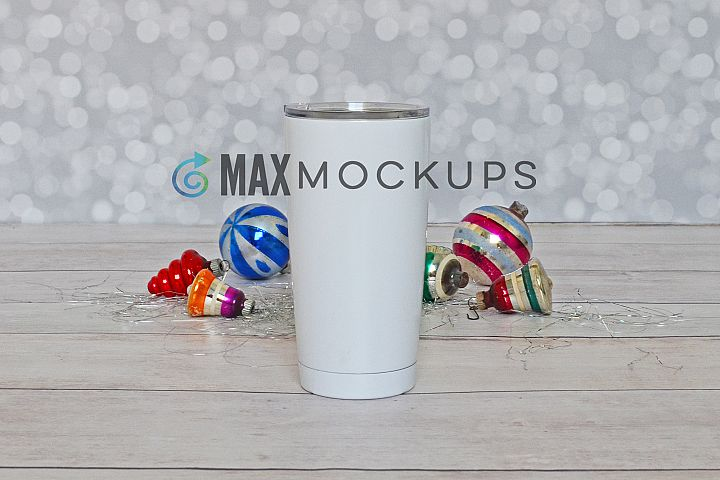 White cup mock up, Christmas vintage display, styled photo