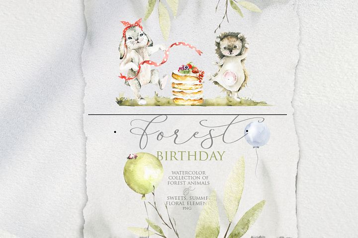 Forest birthday. Watercolor collection.