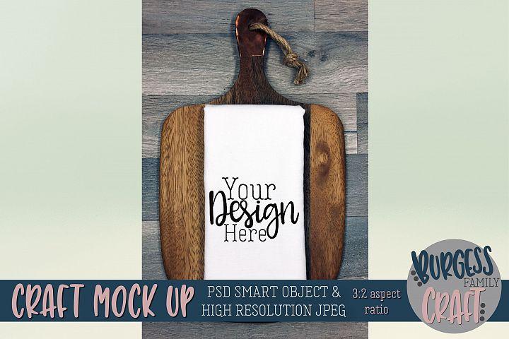 Flour sack tea towel Cutting board Craft mock up|PSD & JPEG