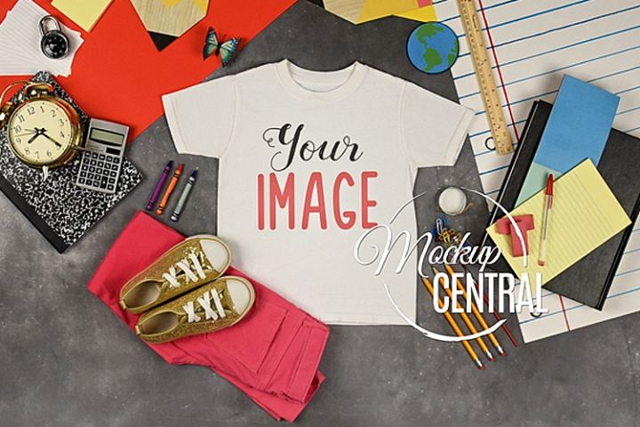 Girls T-Shirt School Mockup, Student Child Shirt JPG