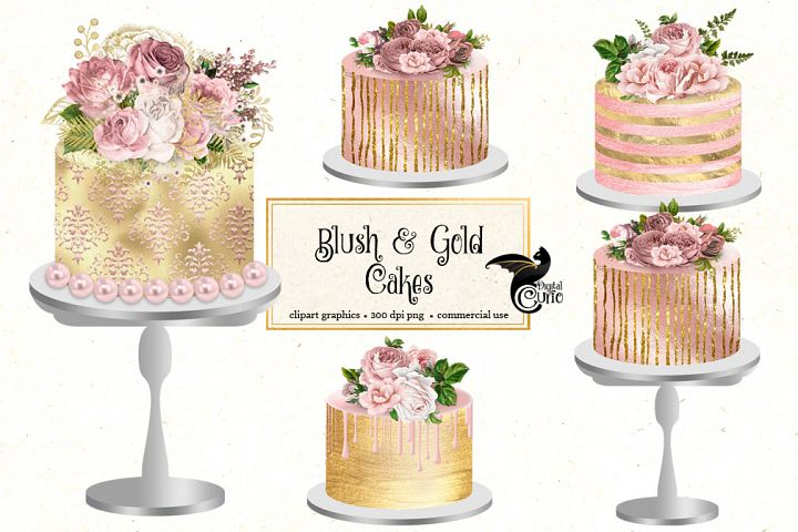 Blush and Gold Cakes Clipart