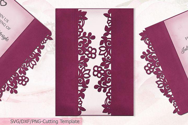 Hand Drawn Floral Gate Fold wedding invitation svg laser cut