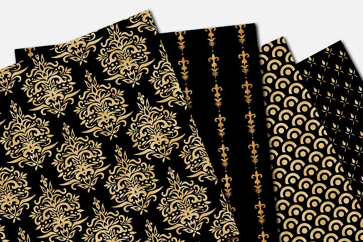 Black and Gold Seamless Papers - Damask & Geometric Patterns example 4
