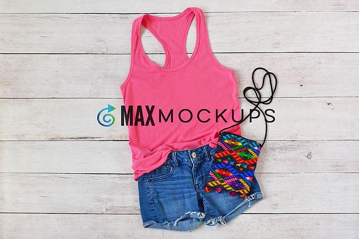 Pink Racerback Tank Top Mockup, styled photo, summer flatlay