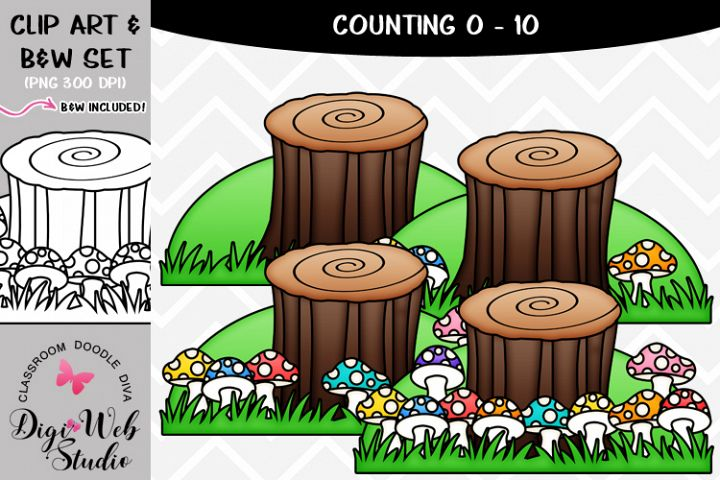 Clip Art / Illustrations - 0-10 Counting Mushrooms