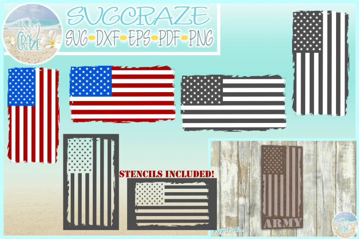 Tattered USA Flag with Stencils SVG Dxf Eps Png PDF files