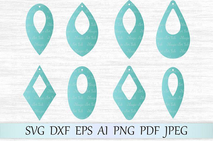 Earrings svg file, Earring template cut file, Tear drop svg file, Earrings with hole, Leaf earrings, Earrings cut file, Earrings vector