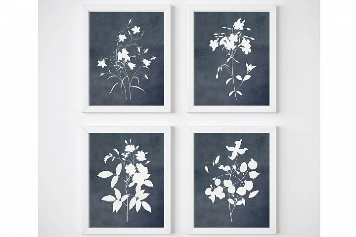 Blue Flower Print Set, Botanical Watercolor Prints