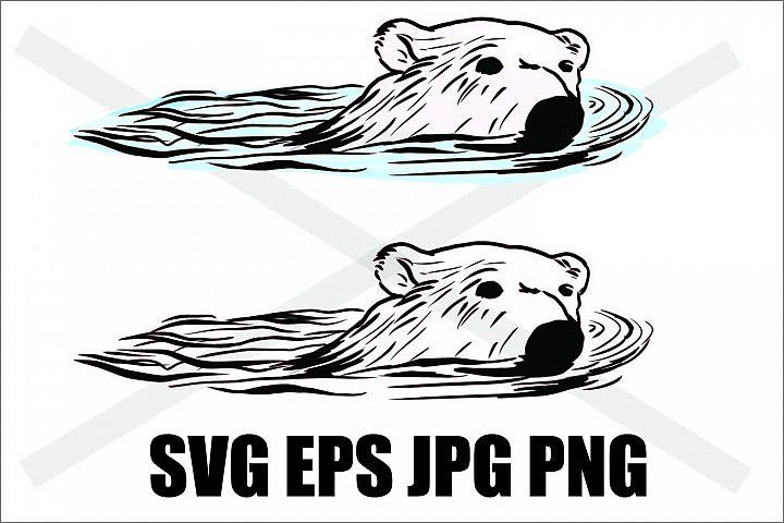 Polar Bear Swimming- SVG EPS JPG PNG