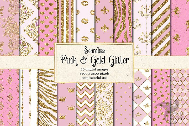 Pink and Gold Glitter Digital Paper