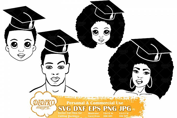 Family Graduation Bundle SVG, Black Woman Graduation Svg