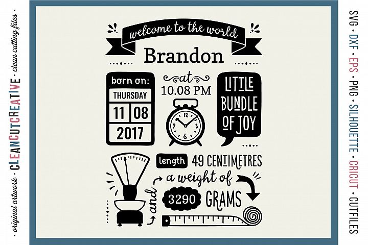 BIRTH STATS TEMPLATE - Baby Birth Announcement - SVG design