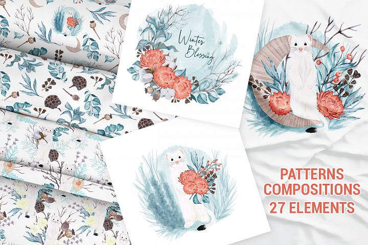 Winter nature pack. Patterns. Premade compositions