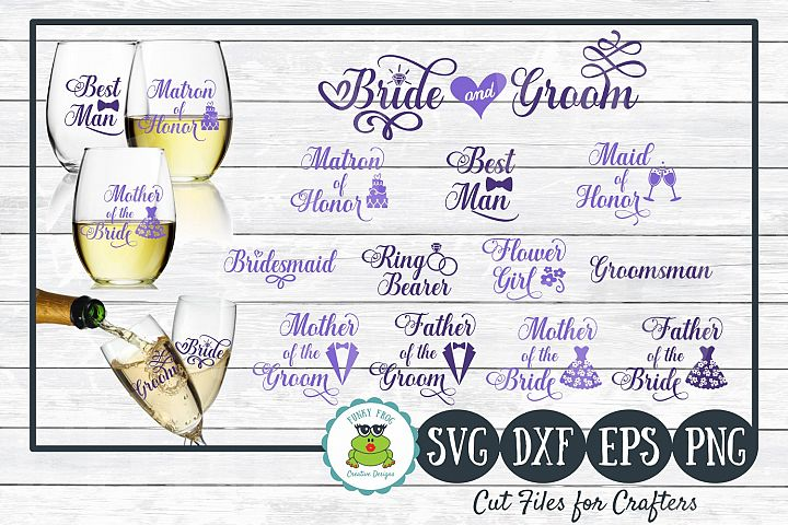 Wedding Party Design Bundle - SVG Cut Files for Crafters