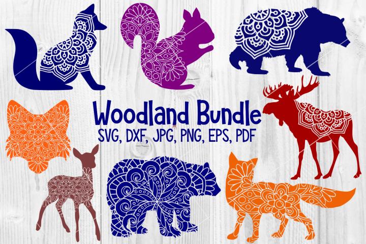Woodland Animal Mandala Bundle, Fox, Deer, Bear, Moose SVG