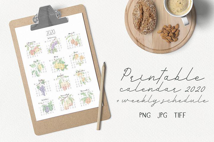 Printable calendar 2020 and weekly schedule