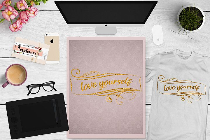 Love yourself, Calligraphy, Typography, Frame SVG Cut File