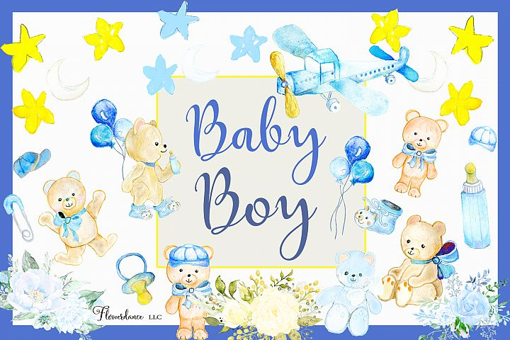 Watercolor Baby Boy Clipart