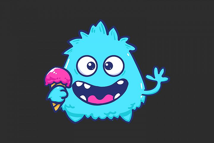 BLUE MONSTER CUTIE LOGO FOR T-SHIRT