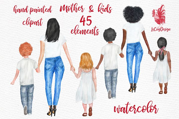 Mother and children clipart, Watercolor Girls Clipart