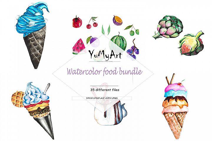 Watercolor food bundle