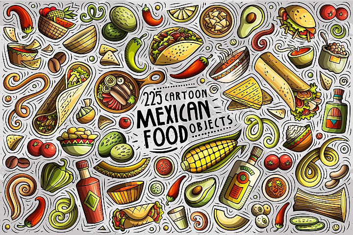 MEXICAN FOOD Cartoon Vector Objects Set