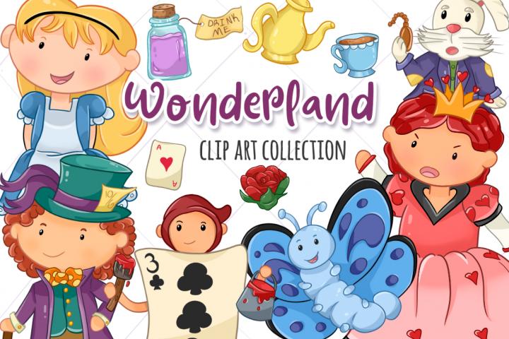Wonderland Story Book Clip Art Set