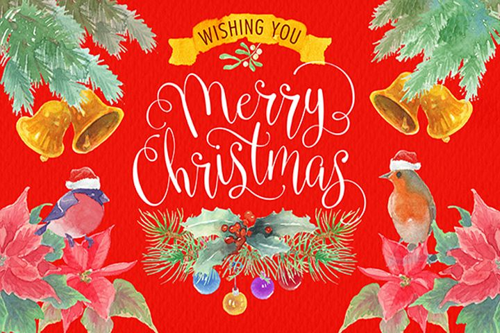 watercolor christmas clipart png elements