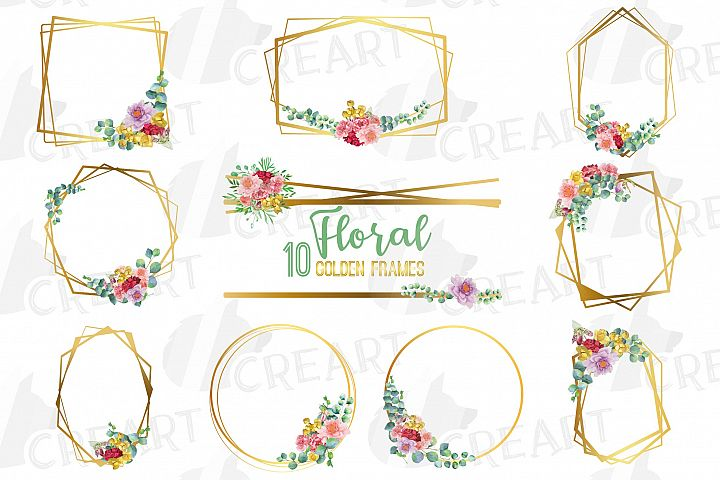 Watercolor floral golden frames and borders clip art pack