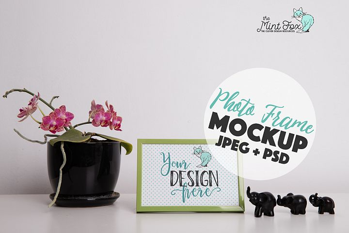 Frame Mockup with Orchid and Elephants | JPG & PSD Mock Up