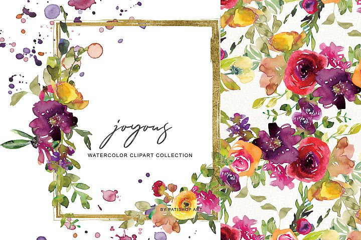 Watercolor Burgundy and Yellow Floral Bouquet Clipart