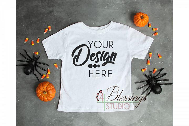 Halloween Mockup White Childrens T Shirt Fall Flat Lay