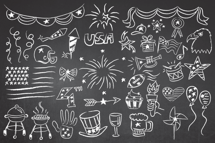 Patriotic 4th of July Chalkboard Vector Clipart in EPS/AI/PDF/PSD