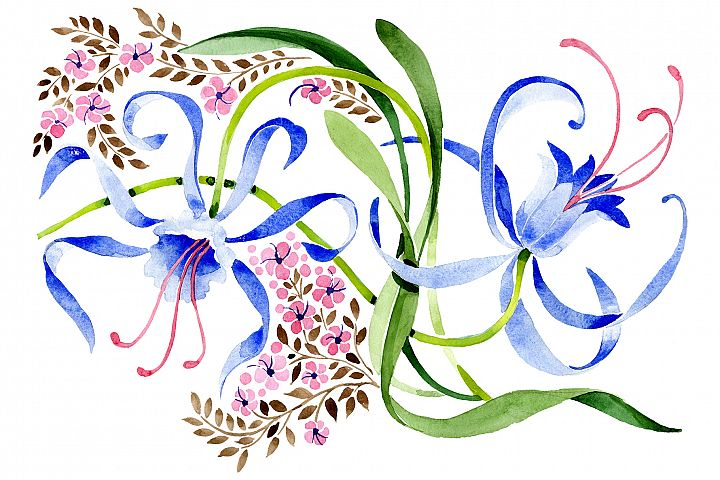 Ornament from a flower plant watercolor png