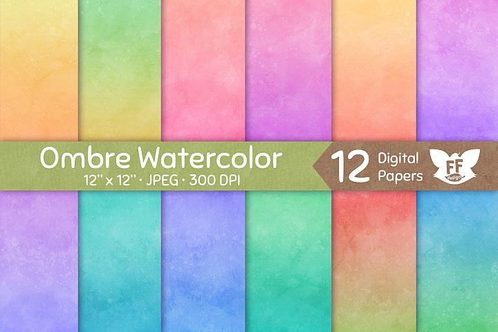Soft Pastel Ombre Watercolor Textures - Digital Paper Set