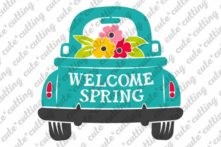 Spring svg, Truck with flowers svg, Truck with blooms svg