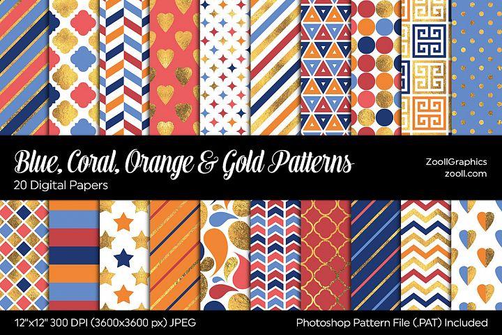 Blue, Coral, Orange & Gold Digital Papers
