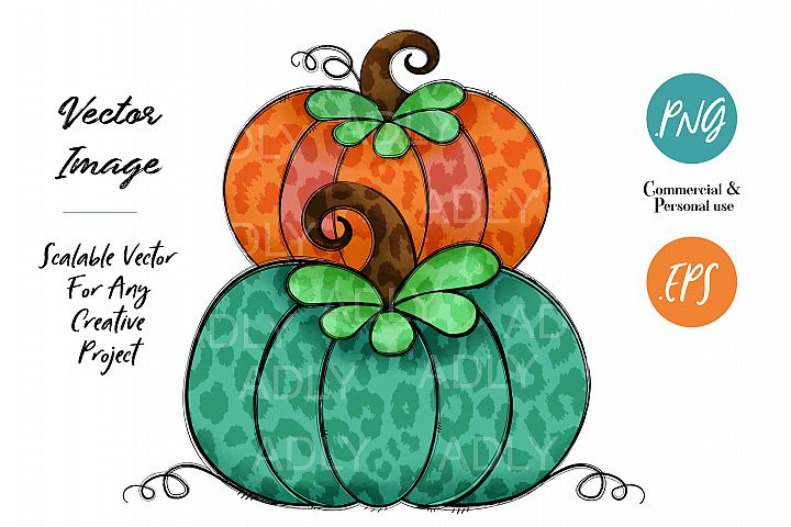 Orange and Green Turquoise Pumpkin Design Halloween Autumn