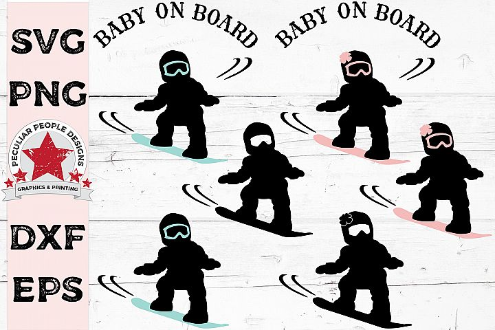 SVG Bundle Baby On Board Snowboarder Car Decal Gender Reveal