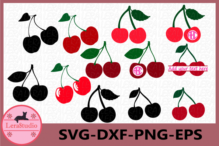 Cherry SVG, Cherry Monogram Svg, Cherries Svg, Summer SVG