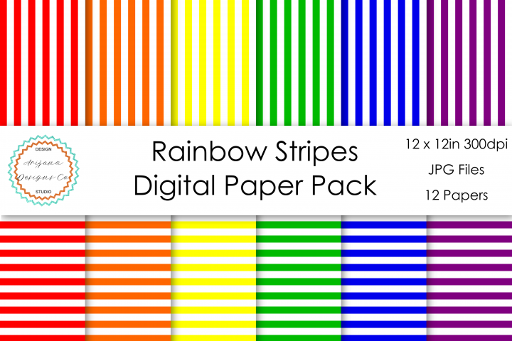 Rainbow Stripes Digital Paper Pack