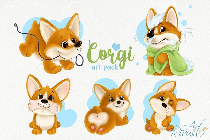 Corgi puppy PNG clipart download. Cute dog graphics.