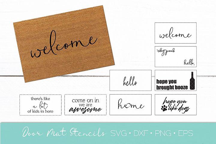 Welcome Door Mat SVG DXF Vector Stencil Bundle