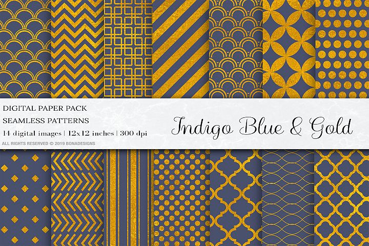 Gold Indigo Seamless Patterns, Gold Patterns,Gold Wedding