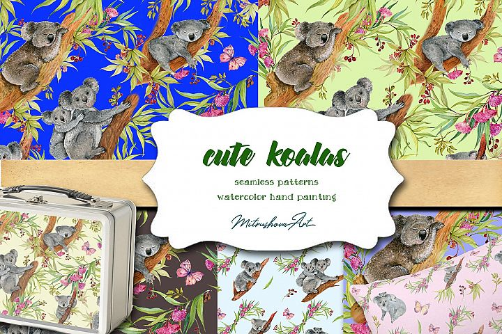 Cute Koalas. Seamless patterns