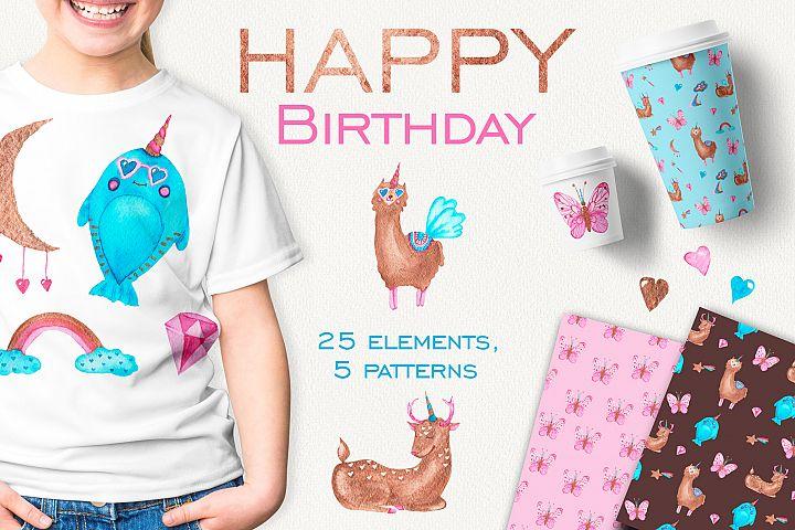 Happy birthday with unicorns