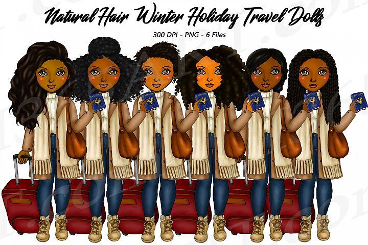 Winter Holiday Travel Clipart Girls, Natural Hair Dolls