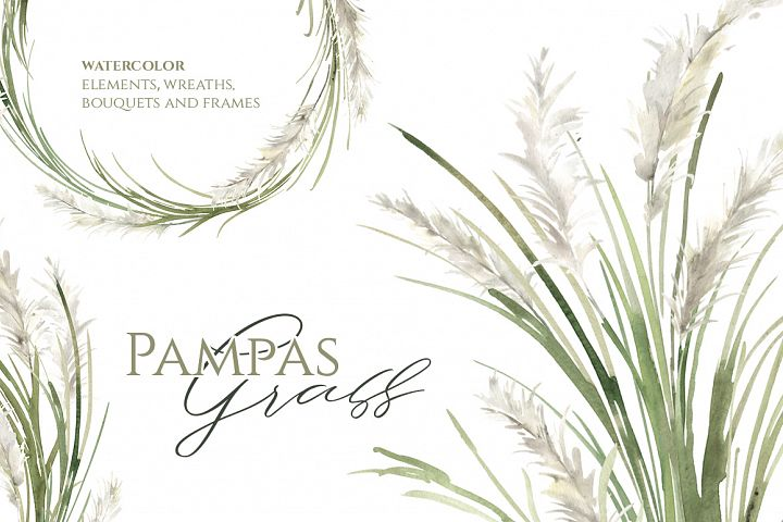 Watercolor Pampas Grass Greenery Bouquets, Frames, Wreaths