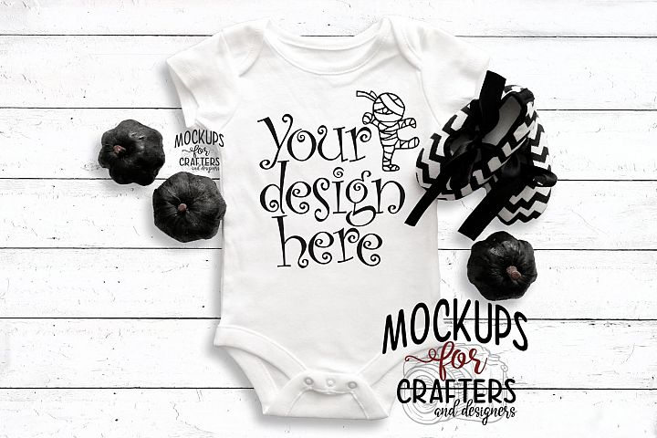 White baby outfit, Halloween, Mock-Up